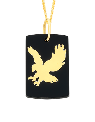 Men's Pendant - Yellow Gold & Acrylic Eagle Pendant - 756182