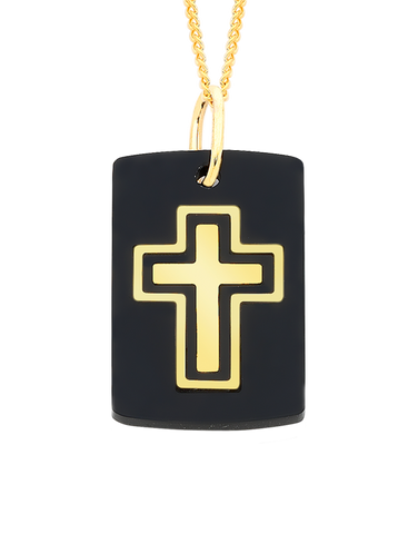 Men's Pendant - Yellow Gold & Acrylic Cross Pendant - 756183