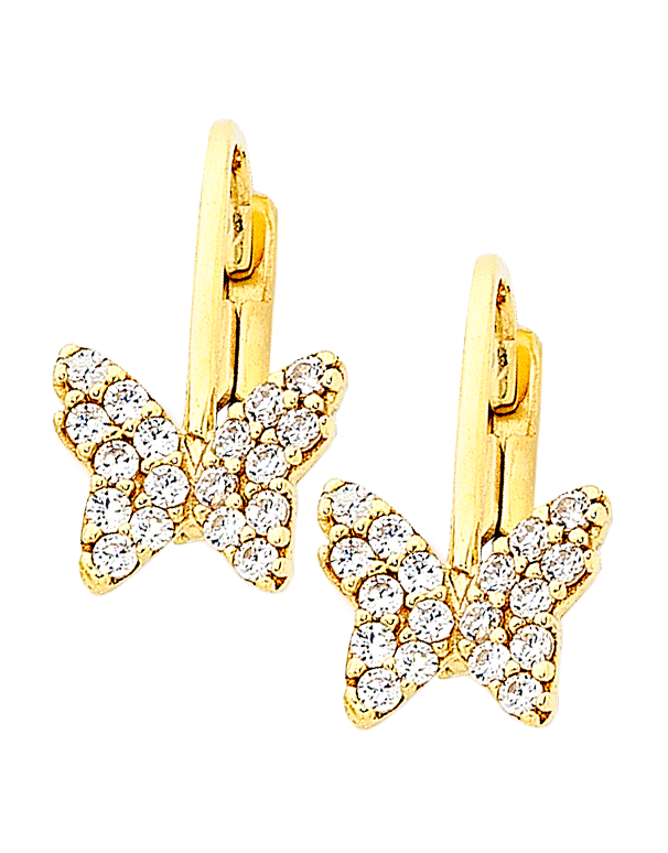 Gold Earrings - 9ct Yellow Gold CZ Butterfly Earrings - 756194 - Salera's Melbourne, Victoria and Brisbane, Queensland Australia