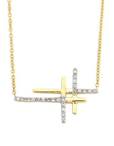 Diamond Necklace - Yellow Gold Double Cross Necklace - 756318