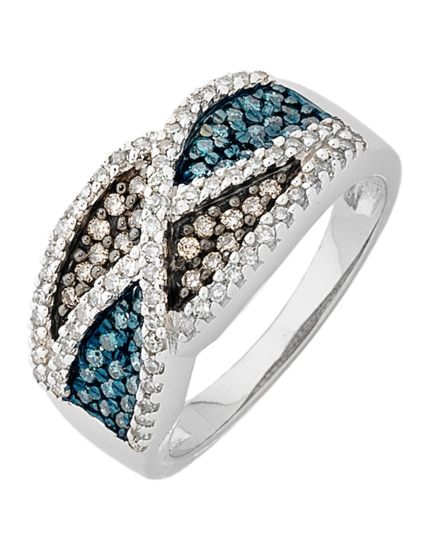 Diamond Ring - White Gold Coloured Diamond Ring - 756339 - Salera's