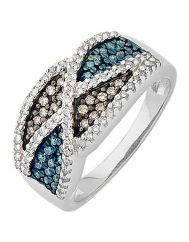 Diamond Ring - White Gold Coloured Diamond Ring - 756339