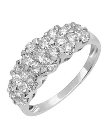 Diamond Ring - White Gold Diamond Cluster Ring - 756349