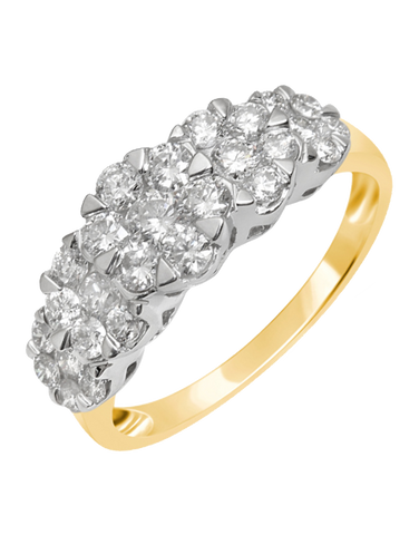 Diamond Ring - 14ct Yellow Gold Diamond Cluster Ring - 756350