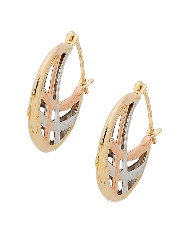 Gold Earrings 9ct Three Tone Gold Hoop Earrings