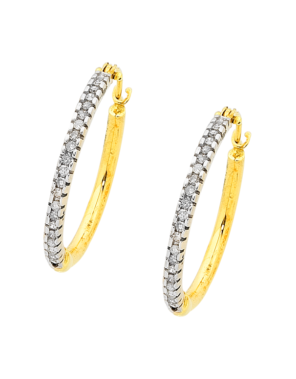 Diamond Earrings - Diamond Set Two Tone Gold Hoops - 756410 - Salera's Melbourne, Victoria and Brisbane, Queensland Australia
