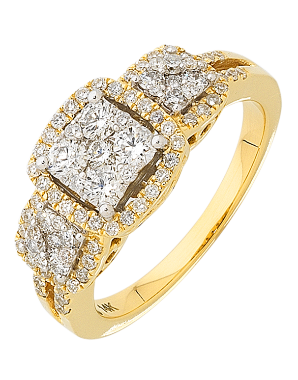 Diamond Ring - Yellow Gold Diamond Cluster Ring - 756425 - Salera's Melbourne, Victoria and Brisbane, Queensland Australia