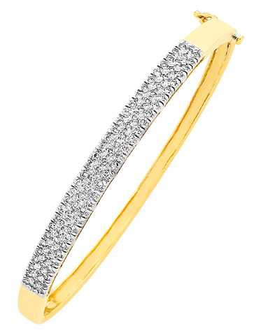 Diamond Bangle - 9ct Yellow Gold Diamond Set Bangle - 756474