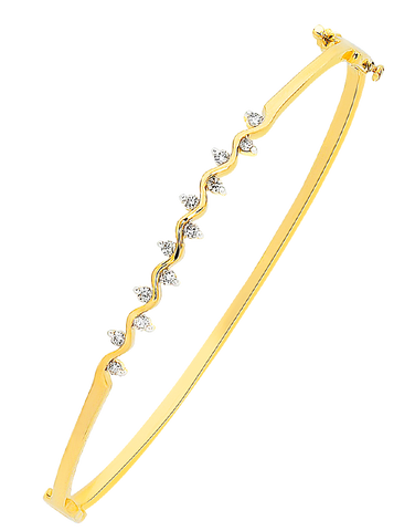 Diamond Bangle - 9ct Yellow Gold Diamond Set Bangle - 756476