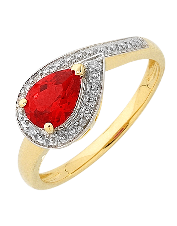 Ruby Ring - Yellow Gold Ruby and Diamond Ring - 756494 - Salera's