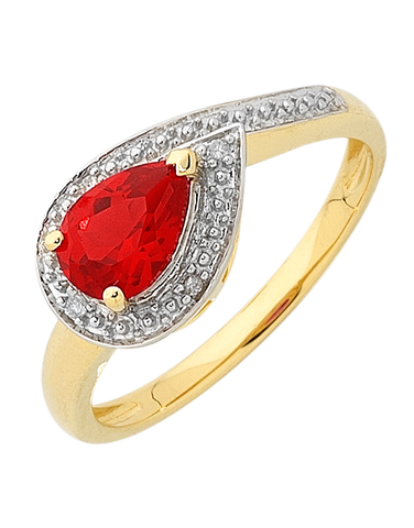 Ruby Ring - Yellow Gold Ruby and Diamond Ring - 756494