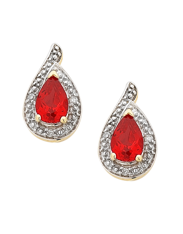 Ruby Earrings - Yellow Gold Ruby and Diamond Earrings - 756496 - Salera's