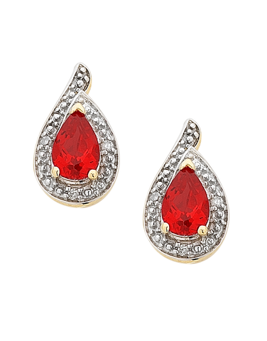 Ruby Earrings - Yellow Gold Ruby and Diamond Earrings - 756496