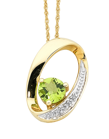 Peridot Pendant - Yellow Gold Peridot & Diamond Pendant - 756504