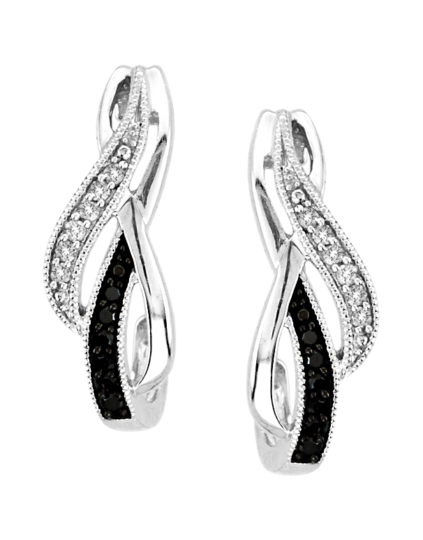 Diamond Earrings - White Gold Black and White Diamond Earrings - 756506 - Salera's Melbourne, Victoria and Brisbane, Queensland Australia - 1