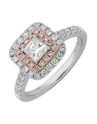 Rand - White Gold Princess Cut Diamond Engagement Ring With White and Pink Diamond Halos