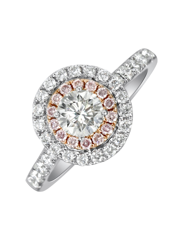 Rand - White Gold Round Brilliant Cut Diamond Engagement Ring With White and Pink Diamond Halos - Salera's Melbourne, Victoria and Brisbane, Queensland Australia