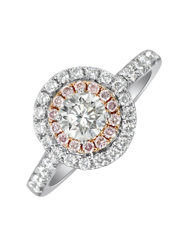 Rand - White Gold Round Brilliant Cut Diamond Engagement Ring With White and Pink Diamond Halos
