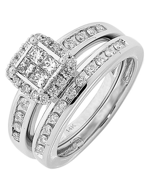 Bridal Set - White Gold Diamond Bridal Set Rings - 756643 - Salera's
