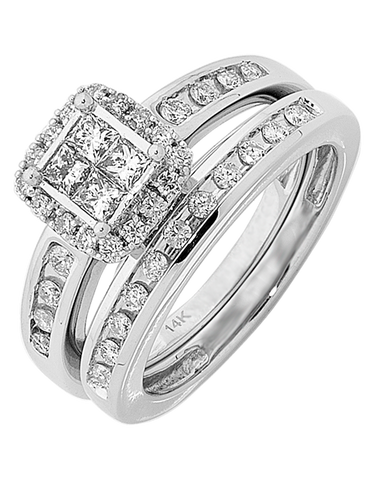 Bridal Set - White Gold Diamond Bridal Set Rings - 756643