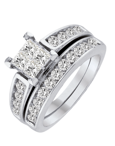 Bridal Set - White Gold Diamond Bridal Set Rings - 756644