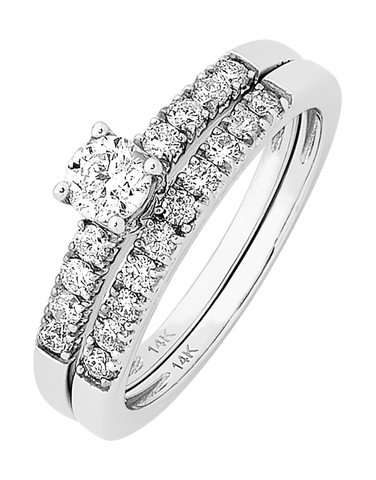 Bridal Set - White Gold Diamond Bridal Set Rings - 756646