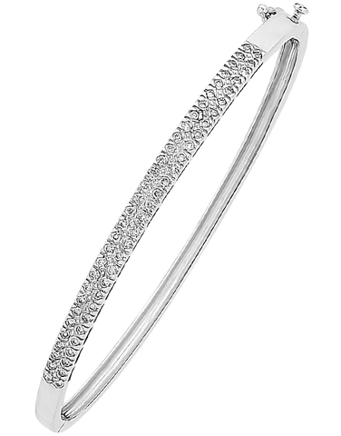 Diamond Bangle - White Gold Diamond Set Bangle - 756689