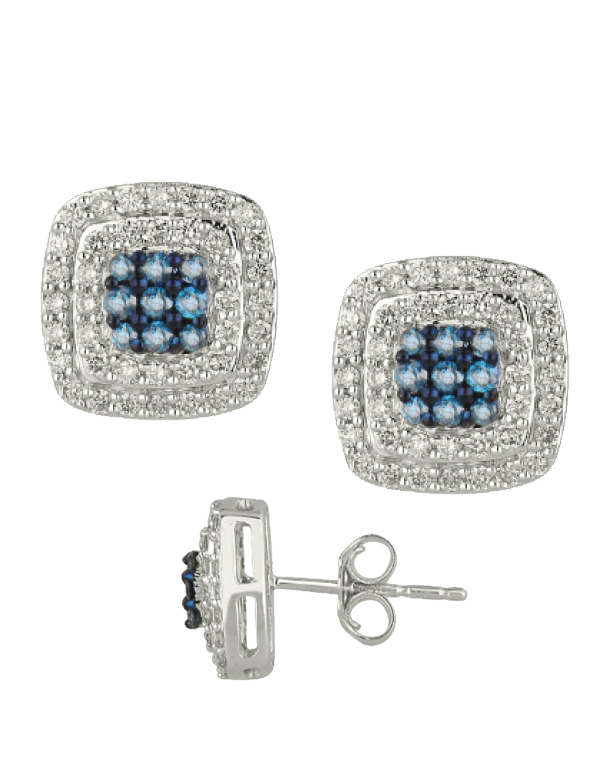 Diamond Earrings - Blue and White Diamond Set White Gold Earrings - 756693 - Salera's Melbourne, Victoria and Brisbane, Queensland Australia