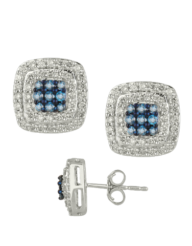 Diamond Earrings - Blue and White Diamond Set White Gold Earrings - 756693