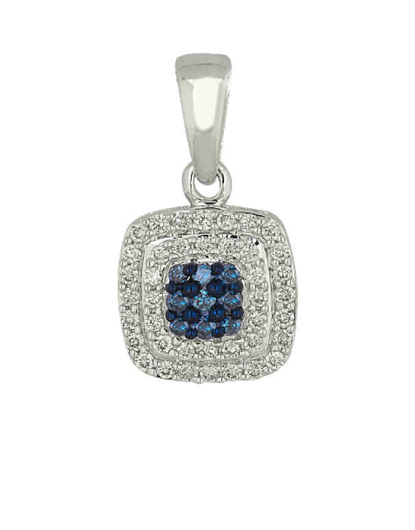 Diamond Pendant - Blue and White Diamond Set White Gold Pendant - 756694 - Salera's Melbourne, Victoria and Brisbane, Queensland Australia