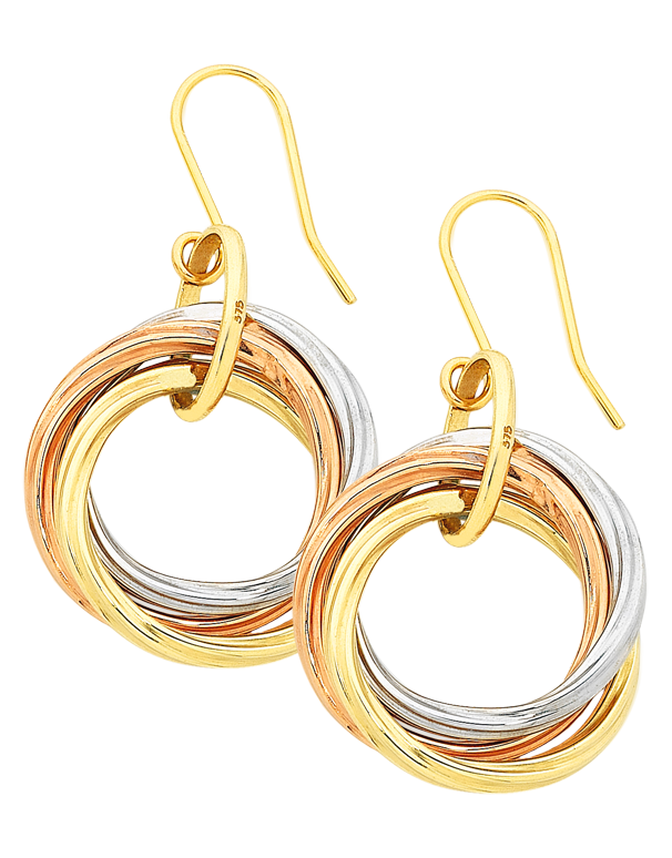 Gold Earrings - Three Tone Gold Circle Drop Earrings - 756737 - Salera's Melbourne, Victoria and Brisbane, Queensland Australia