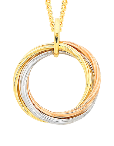 Gold Pendant - Three Tone Gold Circle Pendant - 756738