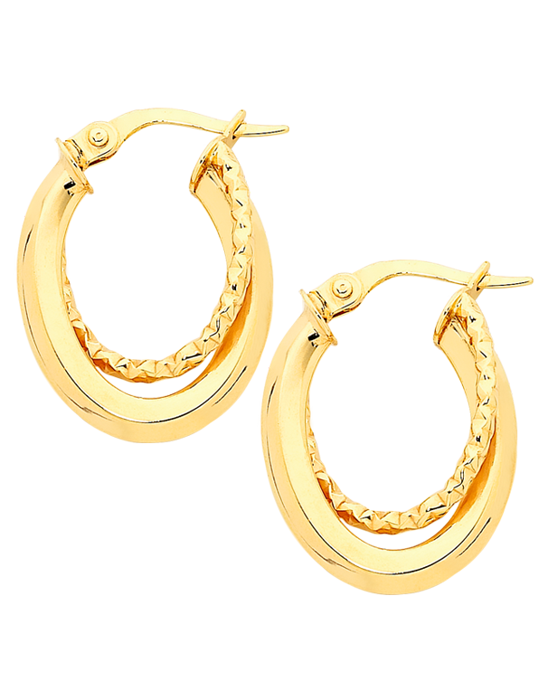 Gold Earrings - 9ct Yellow Gold Hoop Earrings - 756739 - Salera's Melbourne, Victoria and Brisbane, Queensland Australia