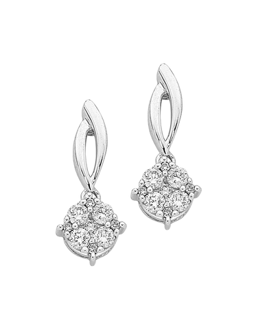 Diamond Earrings - Diamond Set White Gold Earrings - 756743