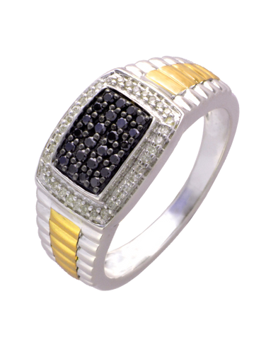 Men's Ring - Two Tone Gold White and Black Diamond Set Ring - 756746