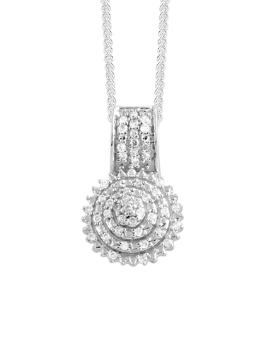 Diamond Pendant - White Gold Diamond Cluster Pendant - 756748