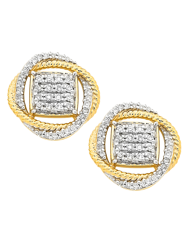 Diamond Earrings - Diamond Set Two Tone Gold Earrings - 756749 - Salera's Melbourne, Victoria and Brisbane, Queensland Australia