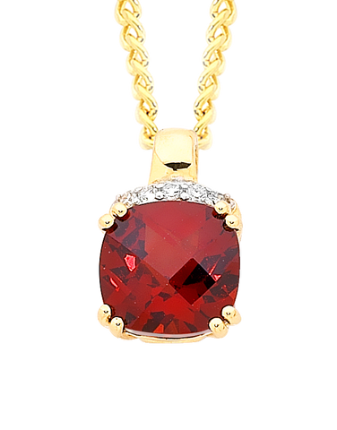 Garnet Pendant - Yellow Gold Garnet and Diamond Set Pendant - 756802