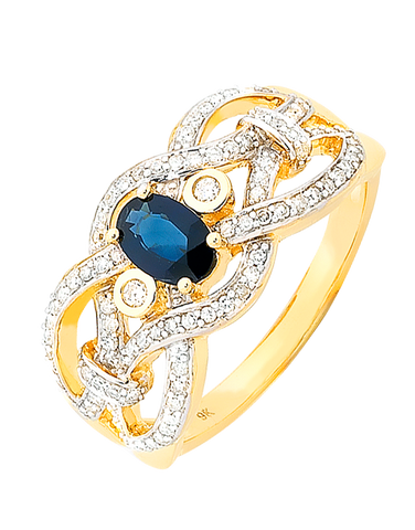 Sapphire Ring - 9ct Yellow Gold Sapphire and Diamond Ring - 756805