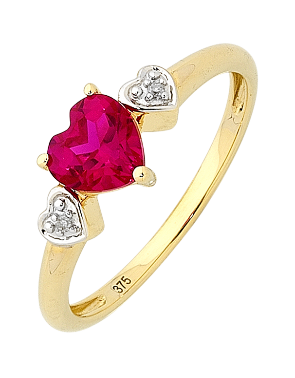RUBY RING - YELLOW GOLD RUBY AND DIAMOND HEART RING