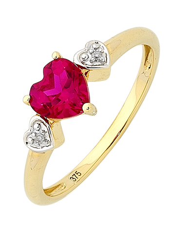 Ruby Ring - Yellow Gold Ruby and Diamond Heart Ring - 756847
