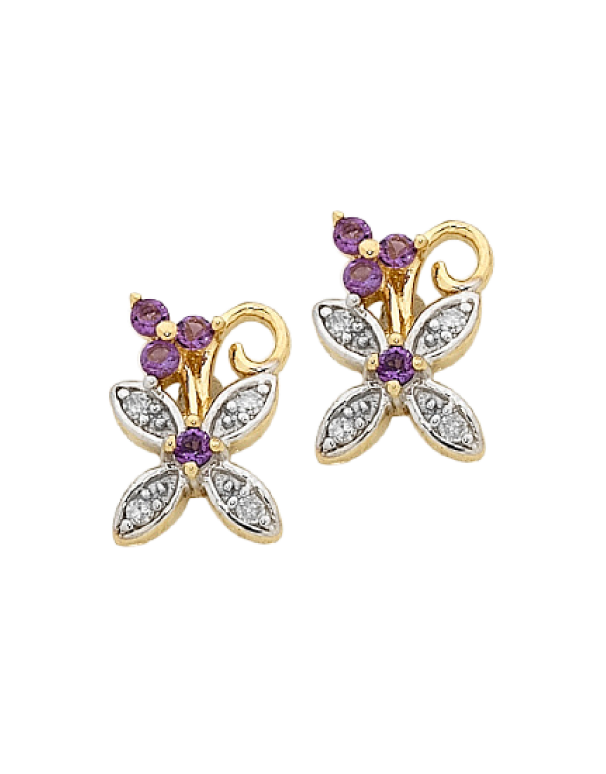 Amethyst Earrings - Yellow Gold Amethyst and Diamond Earrings - 756857 - Salera's