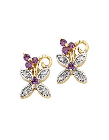 Amethyst Earrings - Yellow Gold Amethyst and Diamond Earrings - 756857
