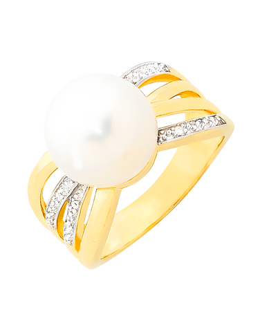 Pearl Ring - Freshwater Pearl And Diamond Ring - 756875