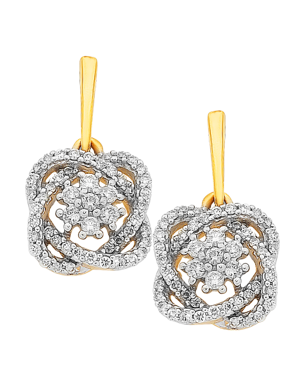 Diamond Earrings - Diamond Set Two Tone Gold Earrings - 756950 - Salera's Melbourne, Victoria and Brisbane, Queensland Australia