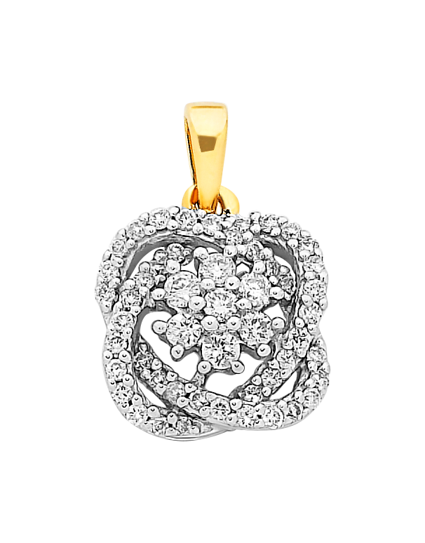 Diamond Pendant - Two Tone Gold Diamond Pendant - 756951 - Salera's