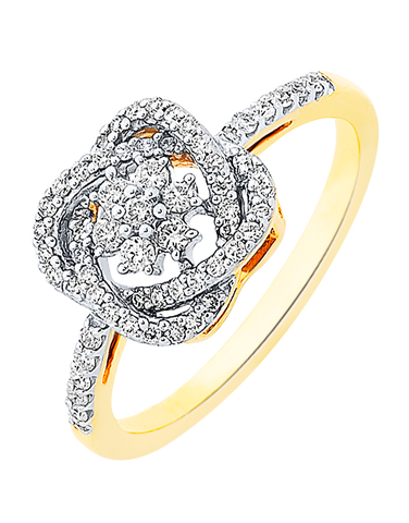 Diamond Ring - Two Tone Gold Diamond Ring - 756953