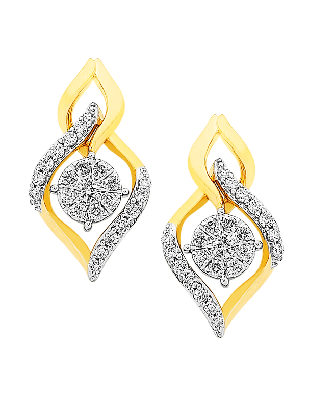 Diamond Earrings - Diamond Set Yellow Gold Earrings - 756954 - Salera's Melbourne, Victoria and Brisbane, Queensland Australia