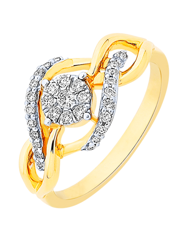 Diamond Ring - Yellow Gold Diamond Ring - 756956