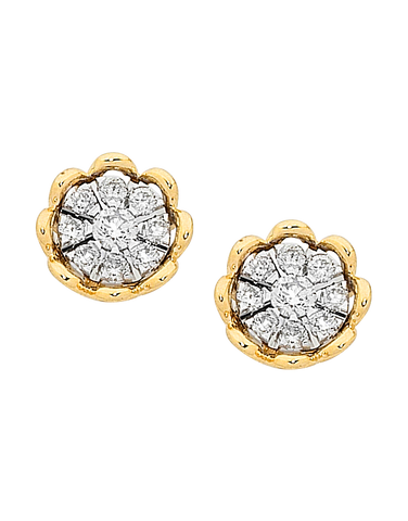 Diamond Earrings - Diamond Set Yellow Gold Studs - 756957